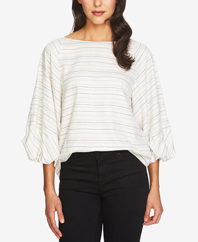 1.STATE Metallic-Stripe Blouson Top