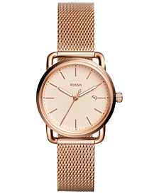 Fossil Women's Commuter Rose-Gold Tone Stainless Steel Mesh Bracelet Watch 34mm