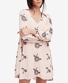 Free People Peasant-Sleeve Embroidered Shift Dress