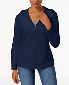 Karen Scott Solid Hooded Jacket, Created for Macy's