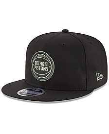 New Era Detroit Pistons Black on Shine 9FIFTY Snapback Cap