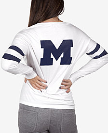 NUYU Women's Michigan Wolverines Long Sleeve Crew Sweatshirt