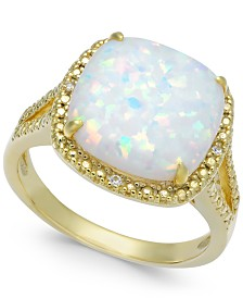 Lab-Created Opal (2 ct. t.w.) & Diamond Accent Ring in 14k Gold-Plated Sterling Silver