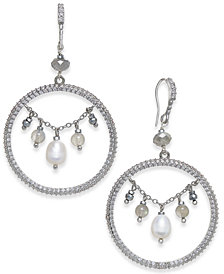 "Paul & Pitü Naturally Silver-Tone Pavé Freshwater (8 x 6mm) and Bead Drop 1-3/4"" Hoop Earrings"