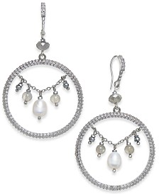 """Paul & Pitü Naturally Silver-Tone Pavé Freshwater (8 x 6mm) and Bead Drop 1-3/4"""" Hoop Earrings"""
