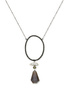 Paul & Pitü Naturally Two-Tone Multi-Stone & Imitation Pearl Open Oval Pendant Necklace