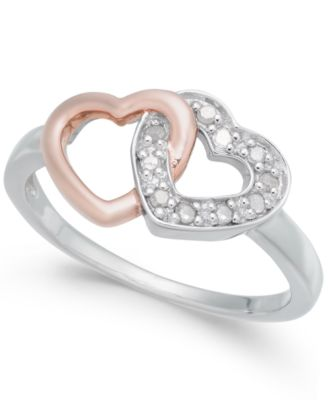 Diamond Interlocking Heart Ring (1/10 ct. t.w.) in Sterling Silver and Rose Gold-Plate