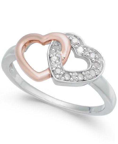 4564b32c86 Macy's Diamond Interlocking Heart Ring (1/10 ct. t.w.) in Sterling Silver