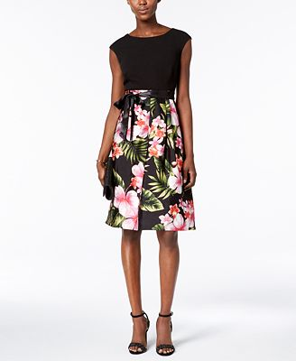Sangria Petite Floral-Print Fit & Flare Dress