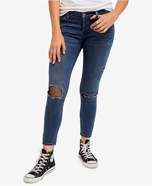 Free People Fishnet-Inset Skinny Jeans