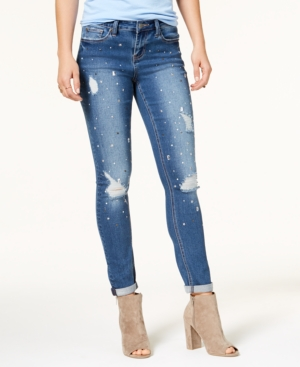Rampage Juniors Ripped Embellished Skinny Jeans