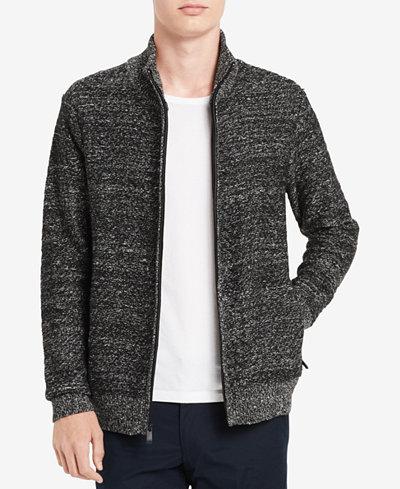 Calvin Klein Men's Herringbone Full-Zip Sweater