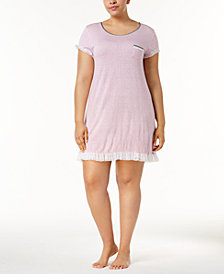 Layla Plus Size Ruffled-Mesh-Trim Sleepshirt
