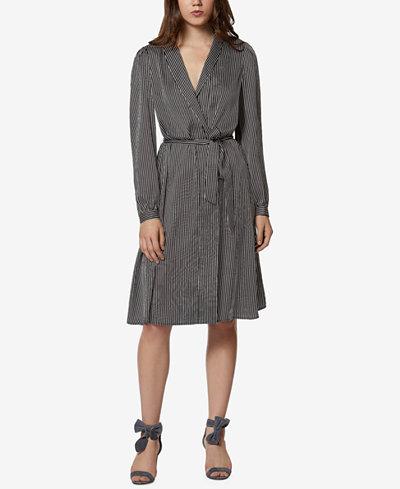 Avec Les Filles Striped Midi Robe Wrap Dress