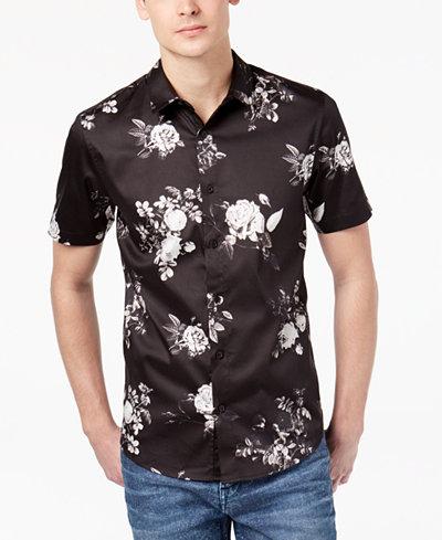 GUESS Men's Floral Stretch Shirt - Casual Button-Down Shirts - Men ...