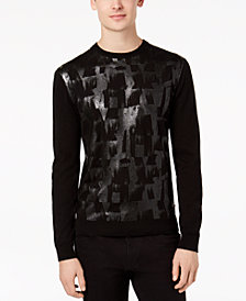 A|X Armani Exchange Men's Brushstroke Metallic-Print Sweater