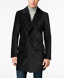 GUESS Men's Black Double-Breasted Coat