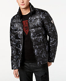 GUESS Men's Alec Quilted Splatter-Print Puffer Jacket