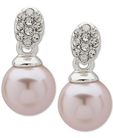 Anne Klein Silver-Tone Pavé & Pink Imitation Pearl Drop Earrings