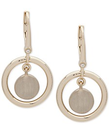 DKNY Gold-Tone Orbital Drop Earrings, Created for Macy's