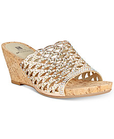 White Mountain Amal Embellished Wedge Sandals, Created for Macy's
