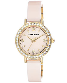 Anne Klein Women's Light Pink Ceramic Bangle Bracelet Watch 32mm
