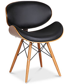Cassie Mid-Century Dining Chair in Walnut Wood and Gray Faux Leather
