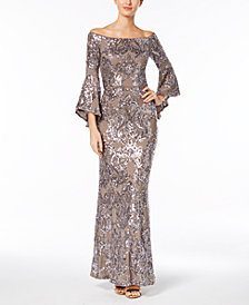 Betsy & Adam Sequined Off-The-Shoulder Gown