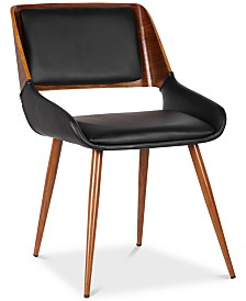 Panda Mid-Century Dining Chair in Walnut Finish and Brown Fabric