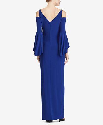 Lauren Ralph Lauren Beaded Strap Cold Shoulder Gown Dresses