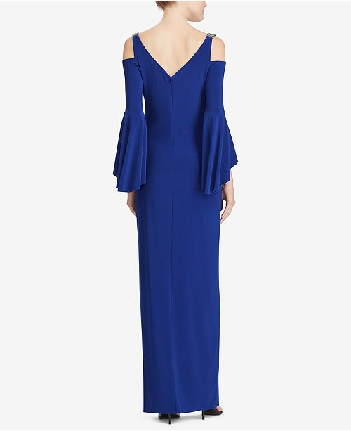 901bd2ff1198 Lauren Ralph Lauren Beaded-Strap Cold-Shoulder Gown   Reviews ...