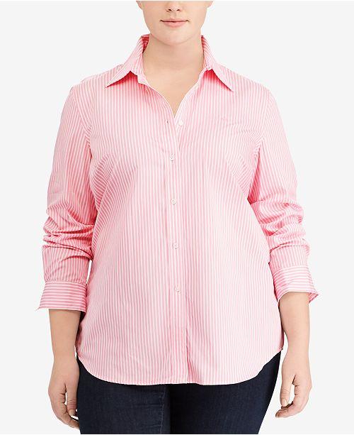 Lauren Ralph Lauren Plus Size Non-Iron Printed Long-Sleeve Shirt