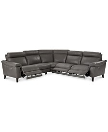 Pirello II 5-Pc. ''L'' Shaped Leather Sectional Sofa with 3 Power Recliners with Power Headrests and USB Port, Created for Macy's
