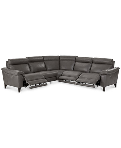 CLOSEOUT! Pirello 5-Pc. ''L'' Shaped Leather Sectional Sofa with 3 Power Recliners with Power Headrests and USB Port, Created for Macy's