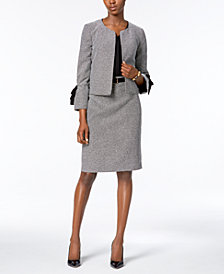 Nine West Kiss-Front Jacket, Crepe Blouse & Pencil Skirt