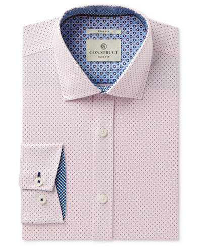 Con.Struct Men's Slim-Fit Stretch Pink Pindot Dress Shirt, Created for Macy's
