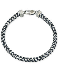 Esquire Men's Jewelry Link Bracelet in Stainless Steel and Black Ion-Plate, Created for Macy's