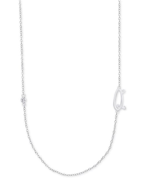 Macy's Diamond Accent Initial Pendant in Sterling Silver