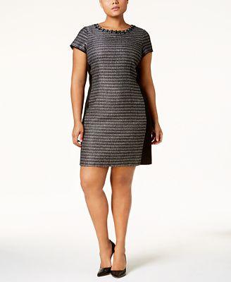 Ellen Tracy Plus Size Embellished Sheath Dress Dresses Women