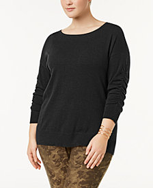I.N.C. Plus Size Ruched-Sleeve Sweater, Created for Macy's