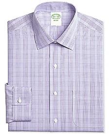 Men's Milano Extra-Slim Fit Non-Iron Purple Plaid Dress Shirt