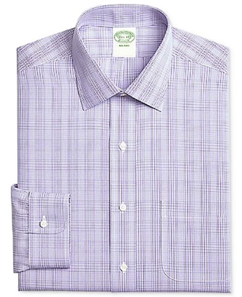 Brooks Brothers Men's Milano Extra-Slim Fit Non-Iron Purple Plaid Dress Shirt