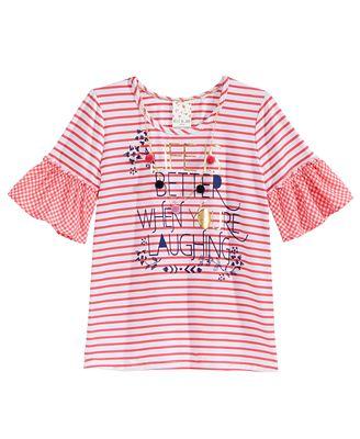 Belle Du Jour Striped Bell-Sleeve Printed Top, Big Girls