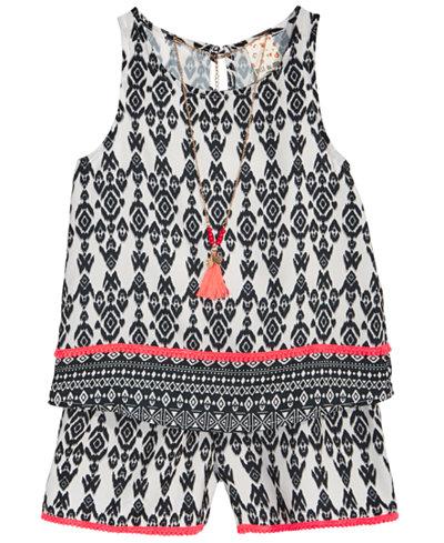 Belle Du Jour Big Girls 2-Pc. Geo-Print Tank Top, Shorts & Necklace Set