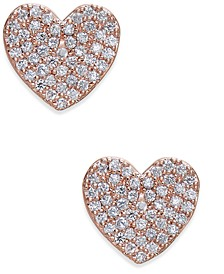 Rose Gold-Tone Pavé Heart Stud Earrings
