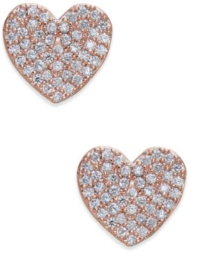 Yours Truly Pave Heart Stud Earrings, Clear/Rose Gold
