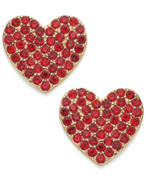 Kate Spade Yours Truly Pave Heart Stud Earrings In Red