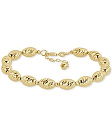 Textured Bead Link Bracelet in 14k Gold-Plated Sterling Silver