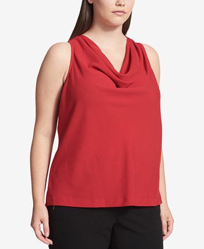 Calvin Klein Plus Size Charmeuse Cowl-Neck Shell