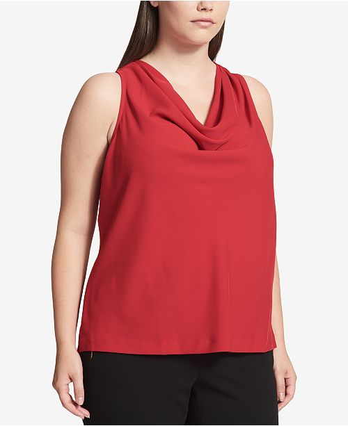 Plus Size Charmeuse Cowl-Neck Shell